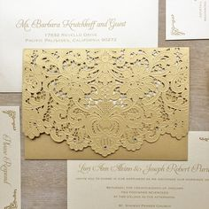 LORI - Ivory and Gold Laser Cut Wedding Invitation - Metallic Gold Laser Cut Envelope with Ivory card - Swarovski Crystal Embellishments