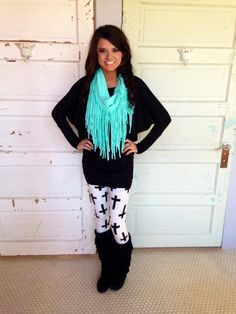 cross leggings & turquoise. @Wendi Humes Humes Pyle Denton I want this outfit.