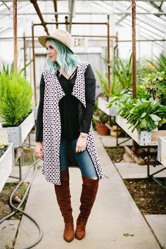 GEO PATTERN CARDIGAN || @theredclosetshop || cardigan, geometric print, fall outfit, winter outfit, green hair, blue hair, fashion, style.