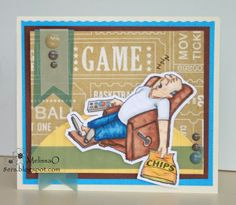 """Ai People Lazy Boy Set (Sku#4159) from Art Impressions. Dad """"watching"""" the game from his recliner!"""