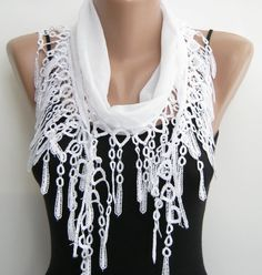 White summer scarf, cotton lace scarf
