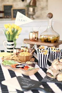 Our game day party will inspire you to host a super bowl viewing party or any football watch party. Ideas for food and drink here. sponsored