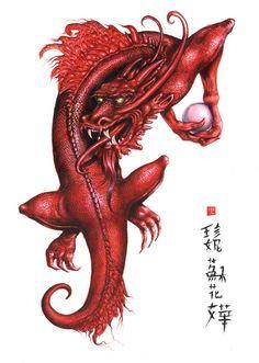 Red Dragon ©Jana Šouflová - fantasy illustrations & folk harp (www.maffet.cz)