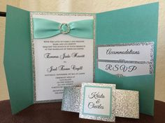 Gorgeous teal pocket folder Wedding Invitation Two layers combined to create a very elegant and sparkle invitation. Silver glitter and white shimmer