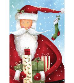 Cards- Painted Santa On Blue : Holiday Cards & Wrap Accessories : Christmas Decor : holiday & party :  Shop | Joann.com