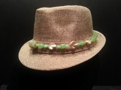 Fedora Hat w/ Natural Healing Stone Hat Band - Green Agate and Sea Shell Beads - Stylish Tan Fedora Hat with Green and White Beaded Band by BeliefStoneDesigns on Etsy
