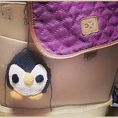 Penguin crochet keychain bag