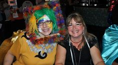 """Sarah (Clinical Therapist) and Susan (CAPA Office Manager) at the Black and Orange Bash! Sarah works at """"reframing"""" situations."""