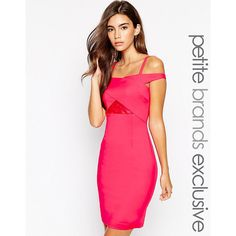 Paper Dolls Petite Bardot Strappy Lace Insert Pencil Dress ($47) ❤ liked on Polyvore featuring dresses, magenta, petite, white dress, strap dress, paper doll dresses, white strappy dress and lace panel dress