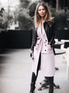 Marianna Hewitt // Life With Me Blog // NYFW Street Style // leather jacket marissa webb dress leather pants