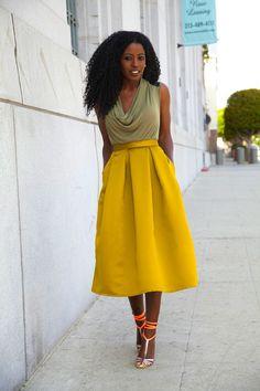 Cowl Neck Blouse + Moss Box Pleat Skirt