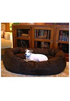 Majestic Pet 52-Inch Suede Bagel Dog Bed Chocolate Pet Supplies Near Me