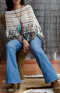 Bo-M: Poncho de Linho & algodão com franjas mescladas