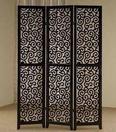 Asia Direct 3 panel black finish wood scrolled design shoji screen room divider with elegant design Mirror Room Divider, Room Divider Screen, Room Screen, Room Dividers, Balcony Furniture, Bed Furniture, Shoji Screen, Wood Design, Design Room