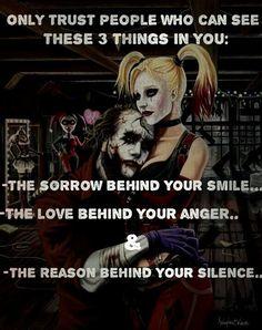 Harley Quinn And Joker Quotes. Best Joker Quotes, Badass Quotes, Best Quotes, Dark Quotes, Strong Quotes, Trust, Harly Quinn Quotes, Image Triste, Whatsapp Logo