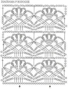 Ideas for crochet flowers dress granny squares Crochet Stitches Chart, Granny Square Crochet Pattern, Crochet Borders, Crochet Diagram, Crochet Granny, Débardeurs Au Crochet, Knitting Patterns, Crochet Patterns, Beautiful Crochet