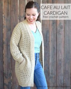There is so much to love about the Cafe au Lait Cardigan Crochet Pattern. The seamless construction, the ribbing, the simple stitch, the POCKETS! Crochet Cardigan Pattern, Crochet Jacket, Crochet Patterns, Beading Patterns, Crochet Ideas, Easy Crochet, Free Crochet, Tutorial Crochet, Crochet Tops