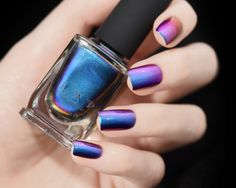 Birefringence - Blue, Purple, Red, Green, Yellow, Orange Ultra Chrome Color Shifting Nail Polish by ILoveNP on Etsy https://www.etsy.com/listing/161936635/birefringence-blue-purple-red-green