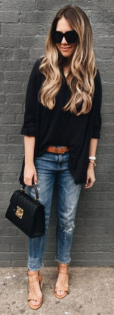 #summer #outfits Who Says You Can't Mix Black And Brown // Black Top + Ripped Jeans + Nude Sandals