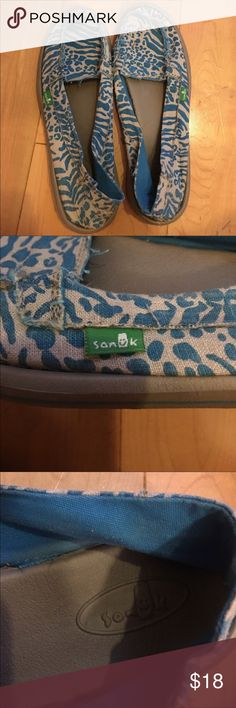 {Sanuk} Animal Print Mary Jane Slip Ons Super cute blue and cream animal print Mary Jane style slip on Saunks in great condition // Size 8 Sanuk Shoes Moccasins