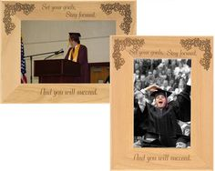 Looking for that perfect graduation gift for a loved one? This personalized graduation frame is the ideal way for your loved one to remember their accomplishment. This engraved Alderwood frame from Gift Works Plus is personalized an inspiring quote. College Graduation, Graduation Frames, Engraved Picture Frames, Ing Words, Personalized Graduation Gifts, Picture Engraving, Set Your Goals, Graduation Celebration, Stay Focused