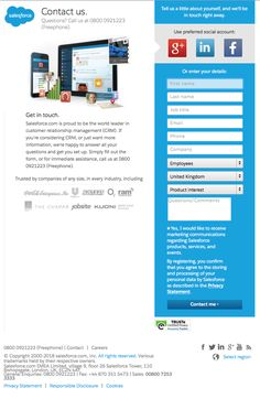 SalesForce specific landing page   No navigation bar, links greyed out at the bottom. They highlight some companies using their system to increase user's trust. The sign up form is short and ands in a CTA button. Navigation Bar, Job Title, World Leaders, First Names, Highlight, Landing, Trust, Sign, This Or That Questions