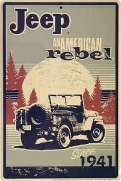 Jeep Sign Tin Metal American Rebel Army Military 1941 Shop Garage Postal Vehicle