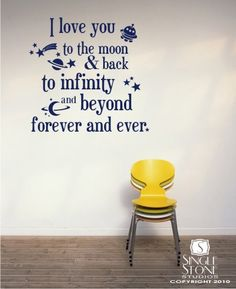 Wall Decals Text Moon and Back Kids Wall by singlestonestudios.