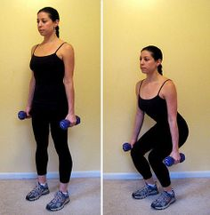 Squats are one of the most effective ways to target your backside. Holding dumbbells makes them a little more challenging.