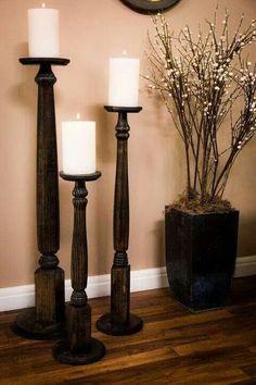 Table leg candlesticks