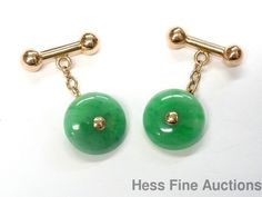 1940s Vintage Fine Color Genuine Green Jadeite Jade 14k Gold Mens Cufflinks