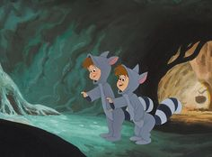 Production Cel and Master Background of the Raccoon Twins from Peter Pan