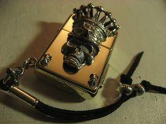 Brass Custom Biker Chrome Sterling Silver 925 Skull Zippo Lighter Hearts Style  