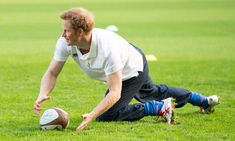 Prince Harry visited the RFU All School programme coaching event at Twickenham Stadium 17 Oct 2013