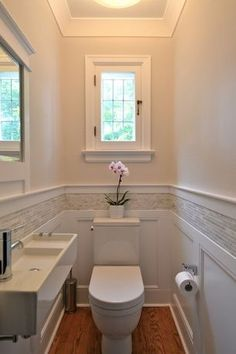 partial marble powder room backsplash - Google Search