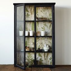 Black Wood Cabinet With Glass Doors