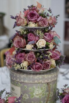 These are cool on cake plates & there are some on cake stands too!  Wedding Flowers | Cake Stand by Passion for Flowers, via Flickr