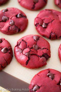 Red Velvet Chocolate Chip Cookies #recipe #cookies