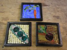 Three Garden Mosaics From Stained Glass, Carrot, Peas and Radish
