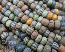 Gypsy Sunset - Aged Striped 3/0 Czech Glass Rocaille Seed Beads - 40pcs - 5.5mm Rustic Bohemian Opaque Matte Picasso - Central Coast Charms