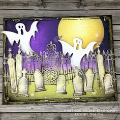 Tim Holtz Sizzix Village Graveyard Halloween Card