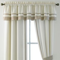 This valance coordinates with the Bensonhurst comforter set and accessories. fabric linedpieced main and contrasting solid fabricsrod-pocket stylingmeasures on up to a rod or polepolyesterwashableimportedCoordinating drapes are sold separately. Best Interior Design Websites, Interior Design Courses, Interior Design Kitchen, Elegant Curtains, Rustic Curtains, Diy Curtains, Interior And Exterior Angles, Interior Doors For Sale, Rideaux Design
