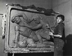 Helene Sardeau, American sculptor, 1899-1969, at work in her studio by Smithsonian Institution, via Flickr