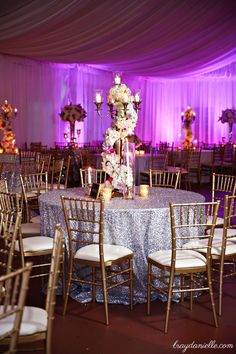 Stunning Floral arrangements in the Pavilion @ Nottoway Plantation. Purple and Pink Wedding, Great Gatsby Wedding, Mixed Metallics, Tent Reception, Art Deco Wedding.