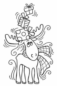 Your favorite shop for all your paper crafting needs Stampendous - Cling Mounted Rubber Stamp - Moose Christmas Images, Christmas Colors, Christmas Art, Christmas Themes, Christmas Drawing, Christmas Paintings, Rodolphe Le Renne, Kids Christmas Coloring Pages, Parchment Cards