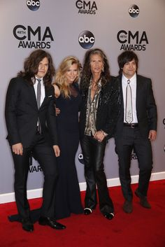The Band Perry and Stephen Tyler walk the red carpet at The 48th Annual CMA Awards, live Wednesday, Nov. 5 at the Bridgestone Arena in Nashville