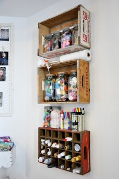 wooden crate shelving, cute for sewing or craft room, or bathrooms