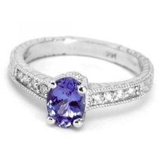175ct AAA Tanzanite & Diamond Engagement Ring by DiamondCANDYcom, $1070.00