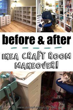 Storage For Craft Room, Storage Room Ideas, Ikea Room Ideas, Craft Tables With Storage, Craft Room Desk, Craft Room Tables, Craft Shed, Storage Room Organization, Cricut Craft Room