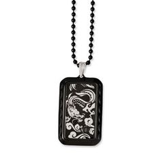 Stainless Steel IP Black-Plated Fancy Lobster Closure Polished and Black Accent Fancy Pendant 20inch Cord Necklace 20 Inch